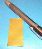 Gold paint sample from Roof Menders