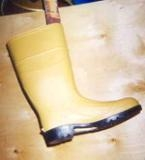 Boots after with gold paint supplied by a Roof Menders' manufacturer